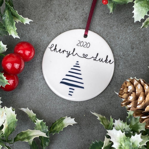 Personalised Couple Christmas Tree Hanging Decoration-The Persnickety Co