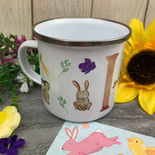 Load image into Gallery viewer, Spring Easter Bunny Initial Enamel Mug
