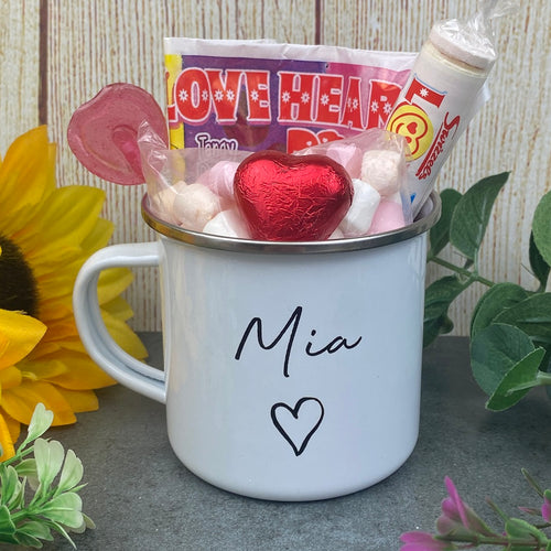 Personalised Name Valentine's Enamel Mug-The Persnickety Co