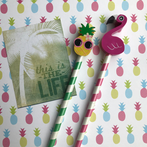 Pineapple and Flamingo Tropical Pencil Set