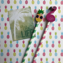 Load image into Gallery viewer, Pineapple and Flamingo Tropical Pencil Set-2-The Persnickety Co