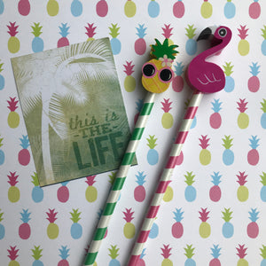 Pineapple and Flamingo Tropical Pencil Set-3-The Persnickety Co