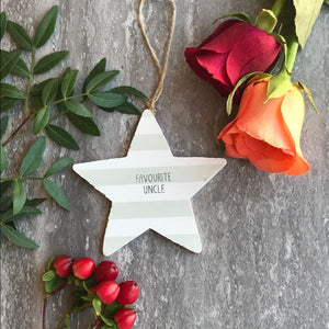 Favourite Uncle Wooden Hanging Star By Gisela Graham-The Persnickety Co