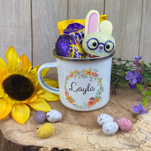 Cheryl's Pick of the Month - Easter Wreath Enamel Mug - Girl Rabbit-The Persnickety Co
