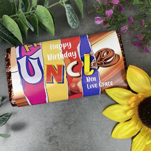 Personalised Uncle Happy Birthday Chocolate Bar-The Persnickety Co