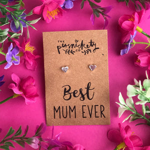 Best Mum Ever - Heart Earrings - Gold / Rose Gold / Silver-3-The Persnickety Co
