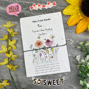 Mum If You Were A Flower Wish Bracelet On Plantable Seed Card-2-The Persnickety Co
