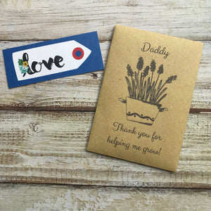 Daddy/ Grandad Thank You For Helping Me Grow! Mini Kraft Envelope with Wildflower Seeds-4-The Persnickety Co
