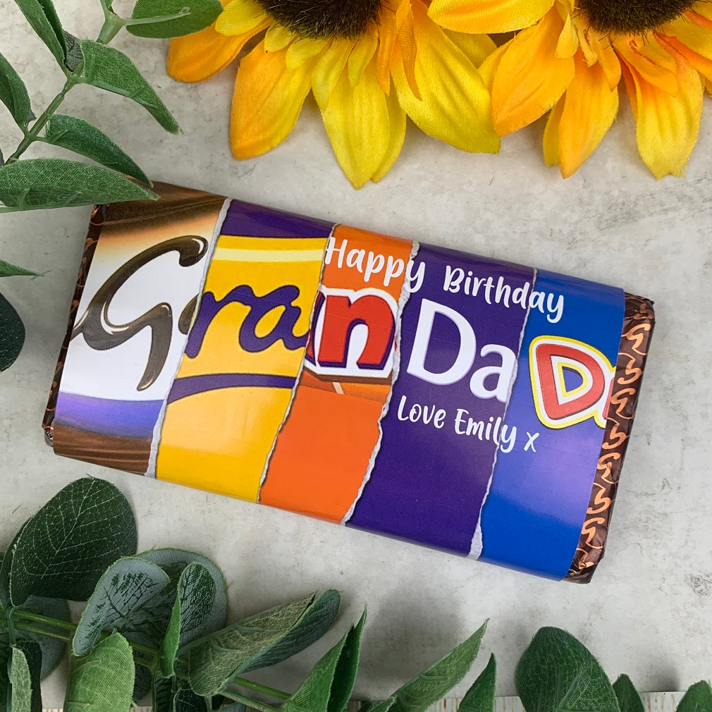 Personalised Grandad Birthday Chocolate Bar-The Persnickety Co