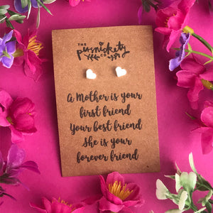 A Mother Is Your First Friend - Heart Earrings - Gold / Rose Gold / Silver-5-The Persnickety Co