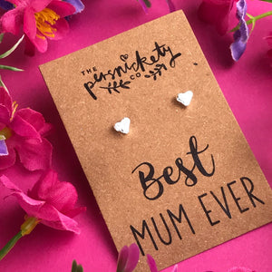 Best Mum Ever - Heart Earrings - Gold / Rose Gold / Silver-6-The Persnickety Co