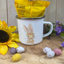 Load image into Gallery viewer, Cheryl's Pick of the Month - Easter Wreath Enamel Mug - Girl Rabbit