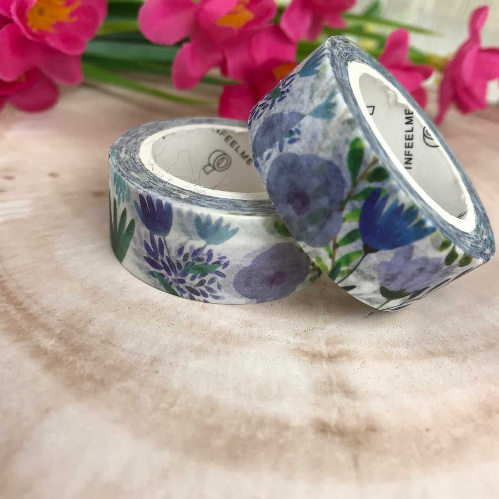 Blue Floral Washi Tape-The Persnickety Co
