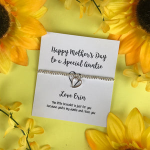 Happy Mother's Day To A Special Auntie Beaded Charm Bracelet-4-The Persnickety Co