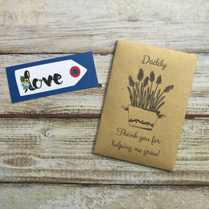 Daddy/ Grandad Thank You For Helping Me Grow! Mini Kraft Envelope with Wildflower Seeds-3-The Persnickety Co