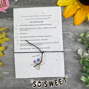 Bride To Bee Wish Bracelet On Plantable Seed Card-3-The Persnickety Co