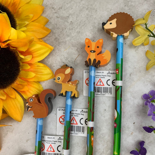 Cute Woodlands Creature pencil with Rubber-The Persnickety Co