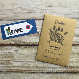 Daddy/ Grandad Thank You For Helping Me Grow! Mini Kraft Envelope with Wildflower Seeds-2-The Persnickety Co