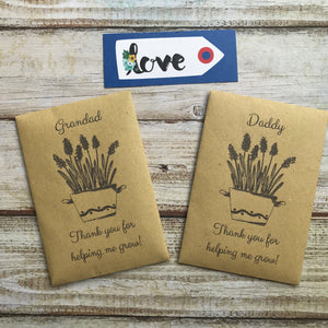 Daddy/ Grandad Thank You For Helping Me Grow! Mini Kraft Envelope with Wildflower Seeds-7-The Persnickety Co