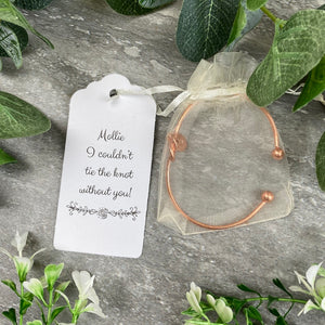 Wedding Knot Bangle With Initial Charm in Rose Gold-3-The Persnickety Co