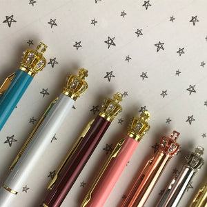 Diamante Crown Top Ballpoint Pen-3-The Persnickety Co