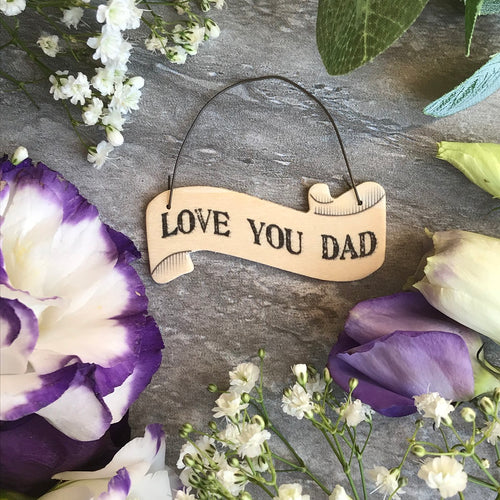East Of India: Small Ribbon Words: Love You Dad-The Persnickety Co