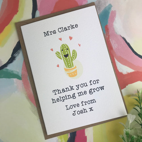 Thank You For Helping me Grow Cactus Card-The Persnickety Co