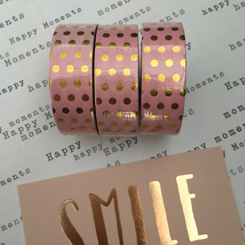 Gold Foil Polka Dot Washi Tape - Pink-The Persnickety Co