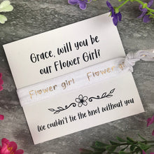 Load image into Gallery viewer, Flower Girl Proposal Hair Tie / Wrist Band-4-The Persnickety Co