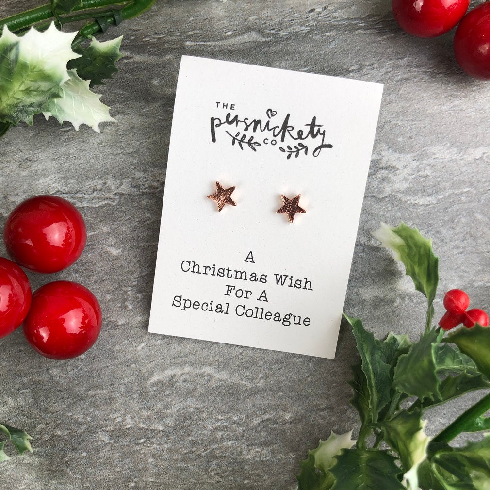 A Christmas Wish For A Special Colleague - Star Earrings-The Persnickety Co