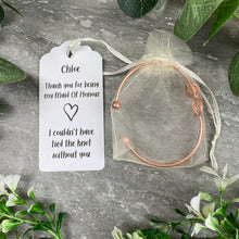 Load image into Gallery viewer, Maid Of Honour Knot Bangle With Initial Charm - Rose Gold-7-The Persnickety Co