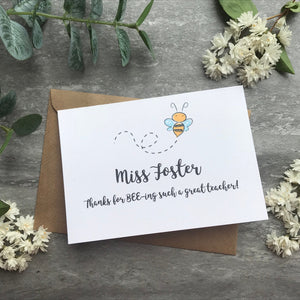Personalised Bee Teacher Card-10-The Persnickety Co
