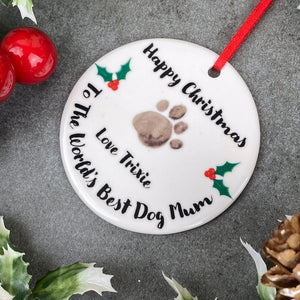 Personalised Happy Christmas World's Best Dog Mum Hanging Decoration-2-The Persnickety Co