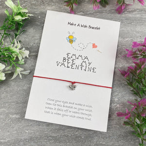 Personalised Bee My Valentine Wish Bracelet-4-The Persnickety Co