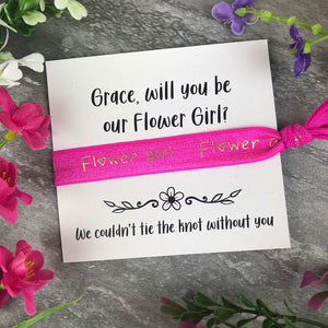 Flower Girl Proposal Hair Tie / Wrist Band-2-The Persnickety Co