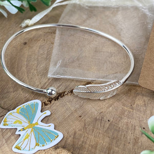 Feathers Appear When Angels Are Near Feather Bangle-8-The Persnickety Co