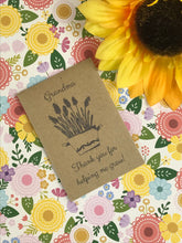 Load image into Gallery viewer, Grandma Thank You For Helping Me Grow Mini Kraft Envelope with Wildflower Seeds-6-The Persnickety Co