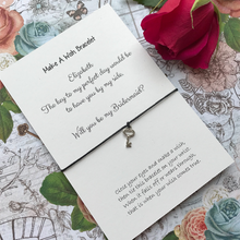 Load image into Gallery viewer, Bridesmaid Proposal - The Key To My Perfect Day... Wish Bracelet-5-The Persnickety Co