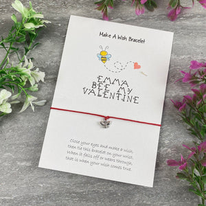 Personalised Bee My Valentine Wish Bracelet-The Persnickety Co