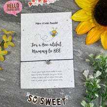 Load image into Gallery viewer, Mummy To Bee Wish Bracelet On Plantable Seed Card-2-The Persnickety Co
