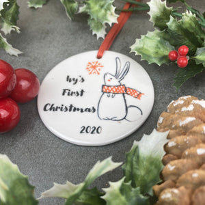 Personalised First Christmas Hanging Decoration-5-The Persnickety Co