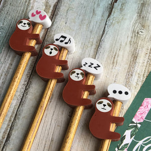 Sloth Pencil With Sloth Eraser Topper-3-The Persnickety Co