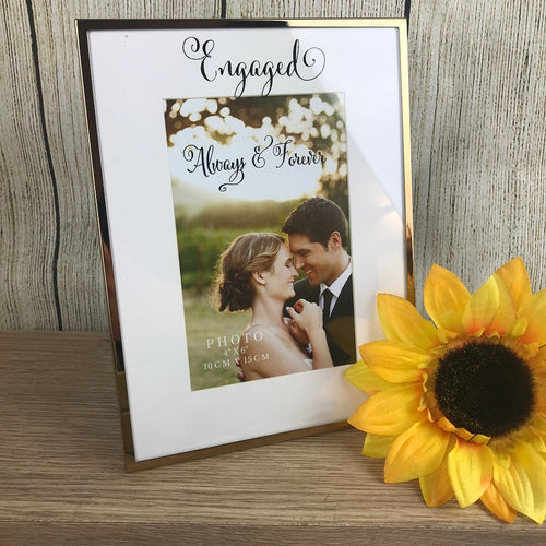 Engaged Black Script 4x6 Photoframe-The Persnickety Co