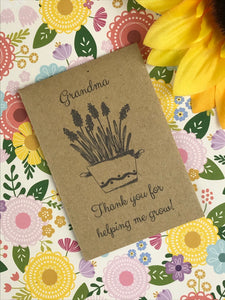 Grandma Thank You For Helping Me Grow Mini Kraft Envelope with Wildflower Seeds-8-The Persnickety Co