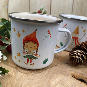 Elf Girl Personalised Enamel Mug