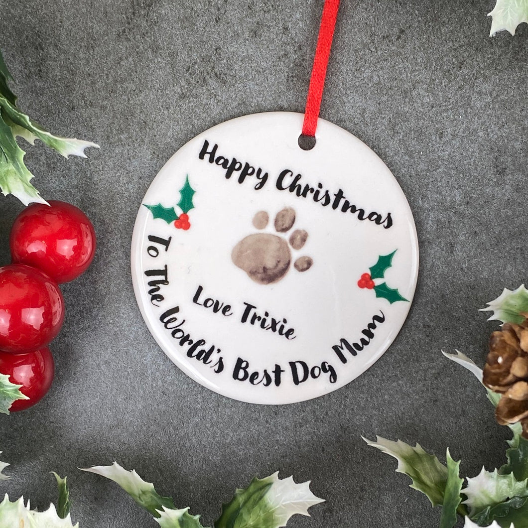 Personalised Happy Christmas World's Best Dog Mum Hanging Decoration-The Persnickety Co
