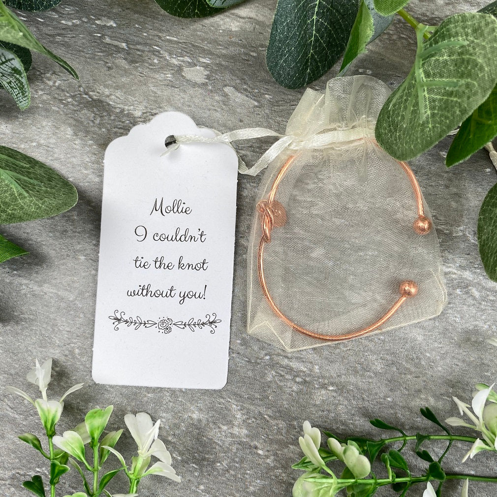Wedding Knot Bangle With Initial Charm in Rose Gold-The Persnickety Co