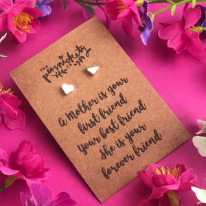 A Mother Is Your First Friend - Heart Earrings - Gold / Rose Gold / Silver-2-The Persnickety Co
