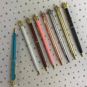 Diamante Crown Top Ballpoint Pen-4-The Persnickety Co