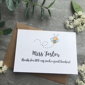 Personalised Bee Teacher Card-2-The Persnickety Co